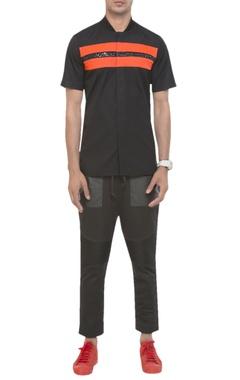 Mesh panel sporty shirt