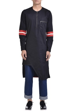 NoughtOne Cotton asymmetric zipper kurta