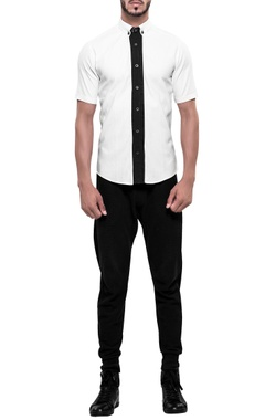 NoughtOne Contrast placket short sleeve shirt