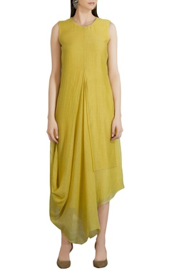 Chanderi draped hemline dress