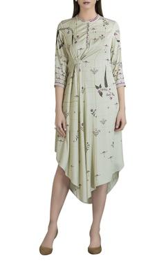 Satin floral printed asymmetric dress