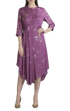 AM:PM Satin floral printed asymmetric dress