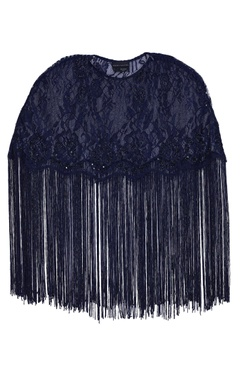 Embroidered cape top with fringes