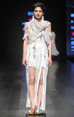 Embroidered dress with scarf