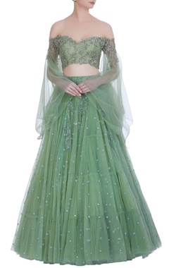 Anushree Reddy Off-shoulder blouse with super flared organza lehenga
