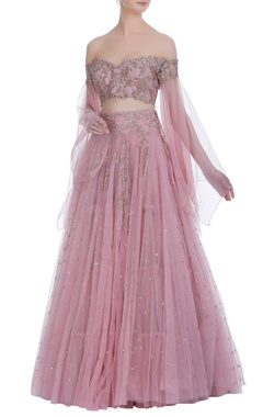 Anushree Reddy Sequin embroidered lehenga with off-shoulder ruffle blouse