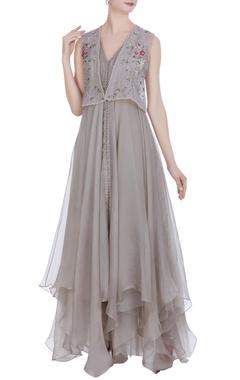 Anushree Reddy Organza asymmetric gown with jacket
