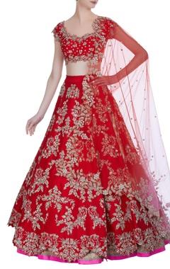 Anushree Reddy Sequin hand-embroidered raw silk bridal lehenga set