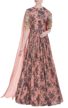 Bhumika Sharma Floral printed gown with draped dupatta