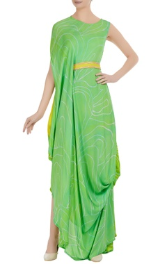 Cowl pleated dress with fitted waistband