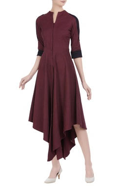 Asymmetrical hem dress with shirt sleeves