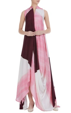 Flared maxi dress with uneven hemline