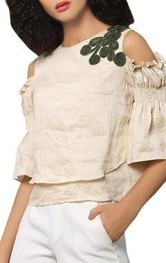 Linen cold-shoulder blouse
