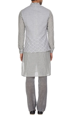 Linen bandi jacket with asymmetric print