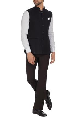 Nehru jacket with gunmetal buttons.