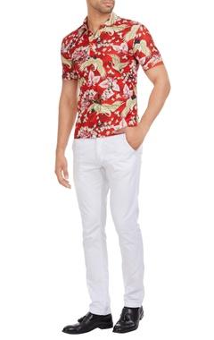 Shivan and Narresh - Men Italian jersey floral & bird printed polo t-shirt