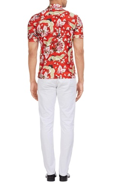 Italian jersey floral & bird printed polo t-shirt