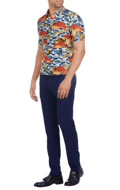 Italian jersey multi-printed cuban collar t-shirt
