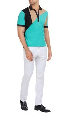 Shivan and Narresh - Men Colorblock cuban collar polo t-shirt