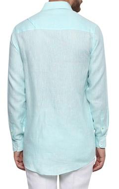 Nautical hued button down cotton shirt