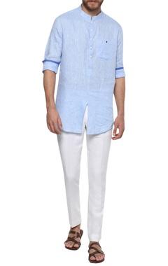 Linen button down shirt with mandarin collar