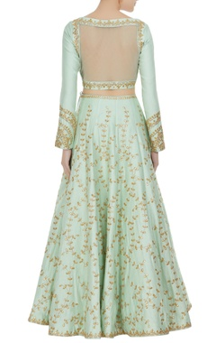 Sheer back choli with embroidered lehenga and dupatta.