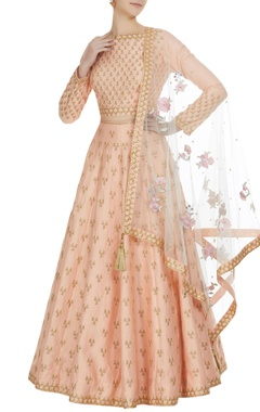 Matsya Gota embroidered lehenga with choli and parsi dupatta.