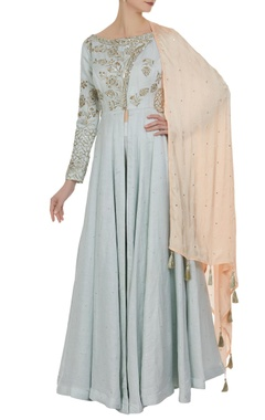 Matsya Zardosi embroidered kurta with churidar and tassel dupatta.