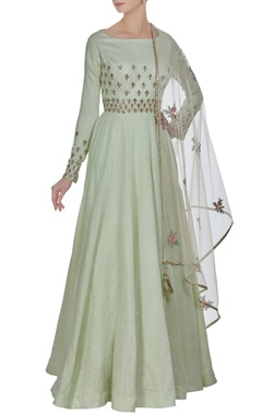 Matsya Zardosi embroidered anarkali kurta with tassel dupatta.