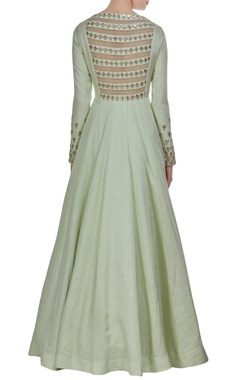 Zardosi embroidered anarkali kurta with tassel dupatta.