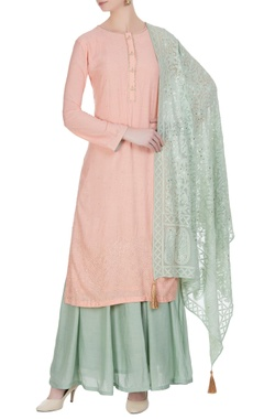 Matsya Silk kurta with sharara pants and dupatta