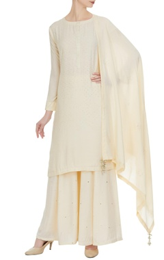 Matsya Embroidered kurta with sharara pants & dupatta.