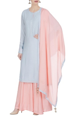 Matsya Mukaish embroidered kurta with sharara pants & dupatta.