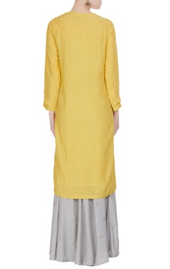 Embroidered kurta with sharara pants & dupatta.
