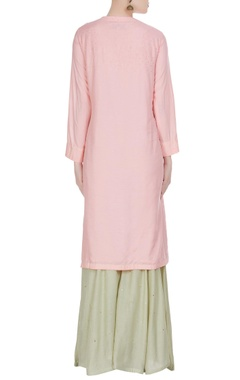 Embroidered kurta with sharara pants & dupatta
