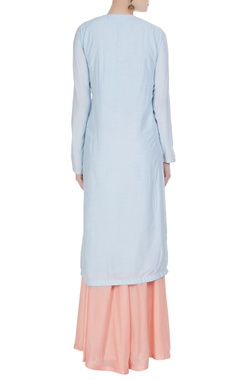Pastel embroidered kurta with sharara set.