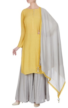 Matsya Cotton silk kurta with sharara pants and dupatta.
