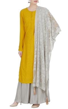 Matsya Embroidered kurta with sharara pants and threadwork dupatta.