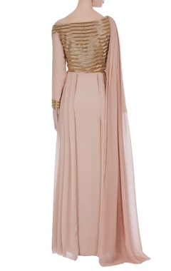 One-shoulder bugle bead embroidered cape style gown