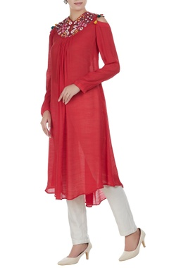 Linen silk floral embroidered tunic