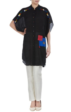 Linen silk button down embroidered tunic