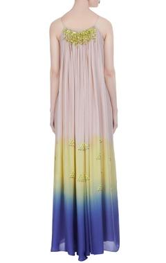 Ombre colored chiffon pleated maxi dress