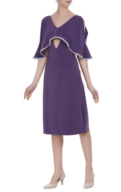 Cutout cape layer midi dress