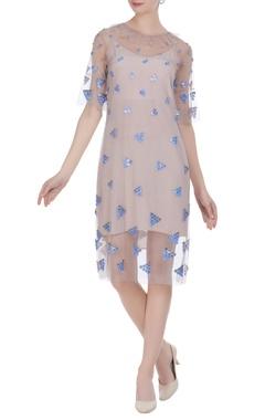 Ruffle neckline tulle net dress with inner slip dress