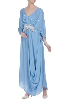 Draped style sequin tassel maxi dress