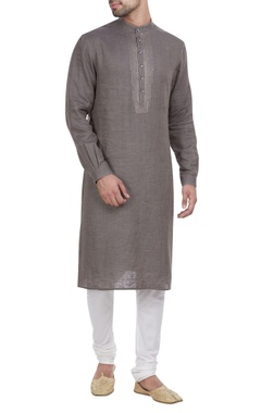 Yoke embroidered kurta with churidar.