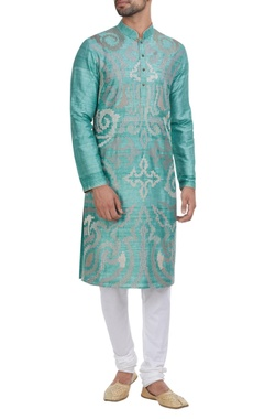 Threadwork kurta with churidar.
