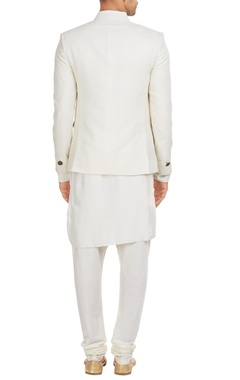 Bandhgala jacket with draped kurta & churidar
