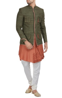 Muga silk jodhpuri jacket with kurta & churidar