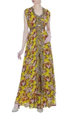 Astha Narang Floral printed cape with pleated palazzos & bralette